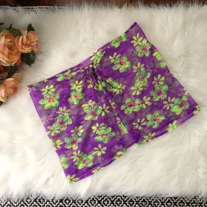 Swim Skirt Cover Up Purple & Green Floral Wrap
